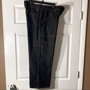 Dolce & Gabbana Contrast Stitching Black Cargo Jeans  Size  42x56